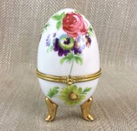 Vintage Uovo Portagioie con Cerniera Porcellana Cina Piedini a Forma Di Fiori