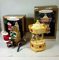 Hallmark Keepsake Ornaments~ Santa's Sing Along & Carousel ( 2 )