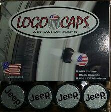 Logo Caps JEEP Black/Silver Logo Tire Air Valve Caps - Black Graphite Finish