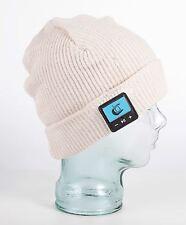 Nordic Smart Beanie - Bluetooth Hat HD Speakers & Mic - Cream Rib Design Turn Up