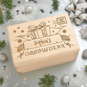 Personalised Engraved Solid Wooden Pine Christmas Eve Xmas Box - Big Present