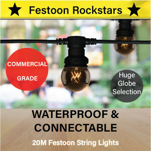 20m Festoon String Lights | Commercial Permanent Outdoors | Huge Globe Selection