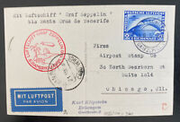 1930 Germany Graf Zeppelin LZ127 Flight PC Cover to Chicago IL Usa Sc#C38