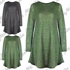Ladies Women's Long Sleeve Lurex Glitter Party Xmas Mini Swing Dress Plus 8-30