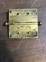 "Vintage 4"" by 4"" Corbin Harvard Cast Brass Door Hinge"