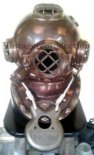 Diving Helmet Brown Antique Deep Sea Scuba Mark V divers Helmet with Wood Base