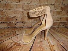 "Jessica Simpson ""Jasper"" Size 11 M Women's Tan Suede Ankle Strap Heels Zippers"
