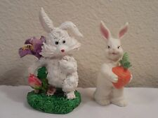 "Pair Cute White Bunny Rabbit Figurines ~ 1 Porcelain 3 1/2"" & 1 Resin 4"" Tall"