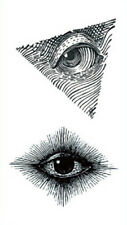 Waterproof Temporary Fake Tattoo Stickers Unique Black Grey Eyes Vintage