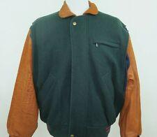 Gant The Flyer Wool Leather Winter Heavyweight Full Zip Coat Bomber Jacket Large