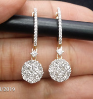 STEAL DEAL! 1.00CT  ROUND DIAMOND CLUSTER HALO DROP DANGLE EARRINGS IN 14K GOLD