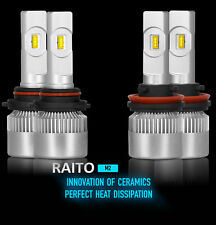 9005+H11 CSP LED Headlights Bulbs Kit High Low Beam/Fog Light 6000K 200W 24000LM