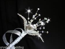 Crystal beaded flower girls wand - wedding flowers - custom made to order