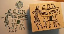 "P34 Big News Retro style rubber stamp WM 2x2.25"""