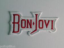 PUNK ROCK HEAVY METAL MUSIC SEW ON / IRON ON PATCH:- BON JOVI (c) WHITE STRIPE