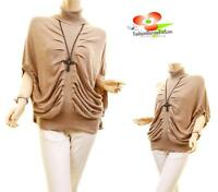 Brown Cashmere Angora Mohair Knit Tunic Drape Turtleneck Sweater Top S M L XL
