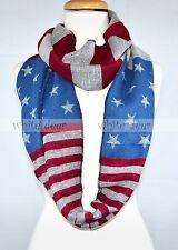 American Flag Print Infinity Scarf Loop Circle Cashmere Wool Feel Star Strip