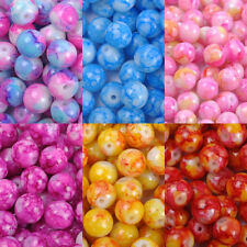 Wholesale MOTTLE Glass Marble Effect Round Loose BEADS - Choose 4MM, 6MM & 8MM