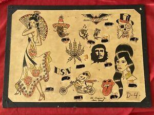 Vintage Original Tattoo Flash Signed Hand Drawn Painted Tattooing Art