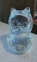 """Art Glass Figural Wise OWL Figurine 4"""" x 2.5"""" Clear Glass Paperweight  Desk"""
