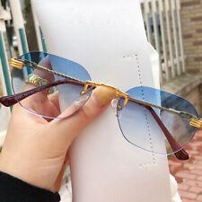 Mens Fashion Gold Metal Rimless Sunglasses Street Small Frame Gradient Eyewears