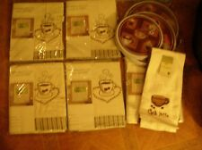 New listing Cafe Au Lait coffee latte theme kitchen curtains towels burner covers hearts