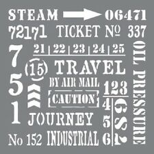 "Andy Skinner Industrial Elements Stencil 8""x8"" DecoArt sentiments steampunk art"