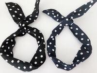 Women Retro Polka Dots Wire Bunny Ear bow scarf Hair head band headband bandana