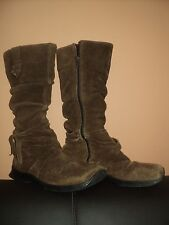 TONY BIANCO BROWN SUEDE LEATHER ZIP UP CALF LENGTH BOHO BOOTS - SIZE 6 WELL WORN