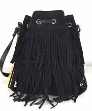 "PATRICIA NASH ""BRONTE"" BUCKET BLACK SUEDE FRINGED CROSS-BODY DRAWSTRING BAG NWT"
