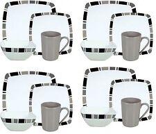 16PC Melamine Dinner Set Square Plates Bowls Mugs Dinnerware Set 4 Place Setting