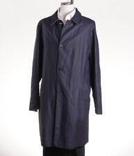 NWT $6995 KITON NAPOLI Reversible Navy Linen Trench Coat 42 R (Eu 52) Jacket