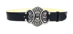RALPH LAUREN Black Leather Belt Fashion Statement Buckle Sz 34 200334AT