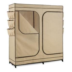 Wardrobe Storage Closet Clothing Rack Heavy Duty Portable Organizers Khaki