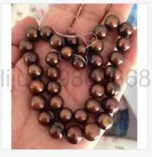 """12 -13 mm natural baroque south sea chocolate pearl necklace 18"""" 14 K gold"""
