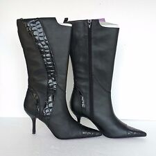 Suzanne Somers New Womens Boots Black Real Leather Croc Emboss Knee High 7 1/2 M