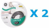 GE 15 Ft Line Cord (2 CORDS) - FAST FREE SHIPPING : SATIN GRAY