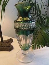 Vase du Val Saint Lambert - modèle Gary - vert émeraude