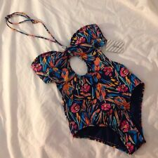 swimsuit floral kira beaded keyhole halter one piece pacsun small