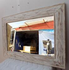 Specchio in legno intarsiato e stagionato cm 100x70 bianco decapato cornice lis