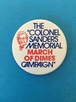 "Vintage Restaurant Pinback KFC ""Colonel Sanders March of Dimes"" 1980s 3"""