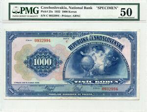 """CZECHOSLOVAKIA 1932 ISSUE 1000 KORUN """"SPECIMEN"""" BANKNOTE PMG-AU-50."""
