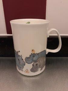 "DUNOON ""Beasties""Fine Bone China Mug designed by Cherry Denman (Hippos)"