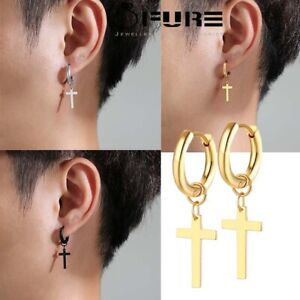 Pairs Surgical Steel Hoop Earrings with Cross for Men Gold SIlver Black Women
