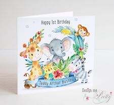 PERSONALISED JUNGLE ANIMAL Birthday Card Boys - 1 2 3 4 5 6 7 8  9