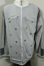 SESAME STREET Embroidered characters grey white full zip track jacket coat 4XL