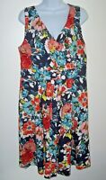 Lands' End Sleeveless Vivid Floral Dress L Crossover Empire V-neck Stretch Knit