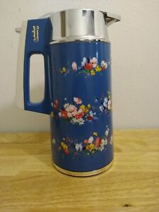 Vintage Zojirushi Insulated Hot Coffee Carafe Pitcher With Flower Scene On Pot