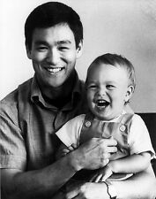 Bruce Lee With Son Brandon Lee Martial Arts Kung Fu 6x5 Inch Reprint Photo 61
