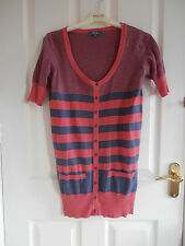 Evie Size 10 Pink/Grey Striped Short Sleeved Long Top